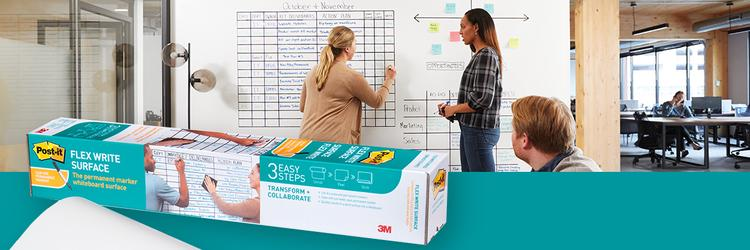 Wand zu Whiteboard in 3, 2, 1 - Teste die neue Flex Write Whiteboard Folie von Post-it®!